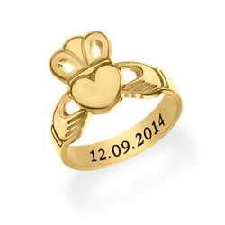 Gold Plated Claddagh Ring with Engraving product photo
