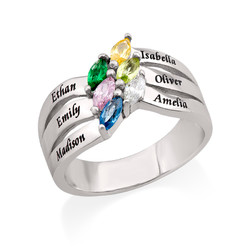 Six Stone Mothers Ring in Silver product photo