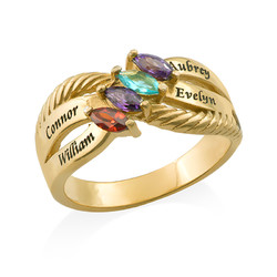 Four Stone Mothers Ring in Gold Plating product photo