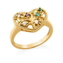 Heart Shaped Birthstone Ring with Gold Plating product photo