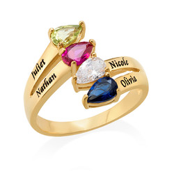 Gold Plated Mothers Ring with Four Birthstones product photo