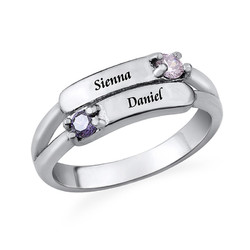Double Birthstone Ring with Engraving product photo