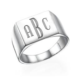 Men's Signet Ring in Silver - Monogram Engraving product photo