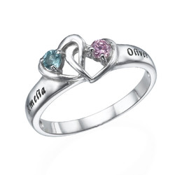 Interlocking Heart Ring with Birthstones product photo
