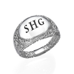 Filigree Signet Ring in Silver product photo