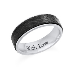 Stainless Steel Ring for Men-Black and Silver product photo