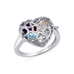 Caged Heart Ring with Birthstones product photo