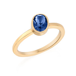 18k Gold Plated Stackable Oval Blue Sapphire Ring product photo