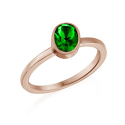 18K Rose Gold Plated Stackable Emerald Green Oval Ring product photo