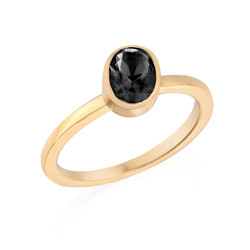 18K Gold Plated Stackable Oval Shock Black Ring product photo
