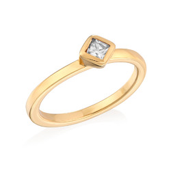 18K Gold Plated Stackable Crystal Clear Rhombus Ring product photo