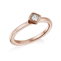 18K Rose Gold Plated Stackable Crystal Clear Rhombus Ring product photo