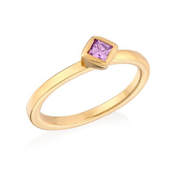 18K Gold Plated Stackable Misty Rose Rhombus Ring product photo