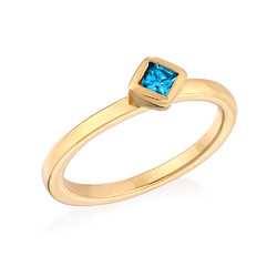 18K Gold Plated Stackable Blue Lagoon Rhombus Ring product photo