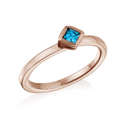 18K Rose Gold Plated Stackable Blue Lagoon Rhombus Ring product photo