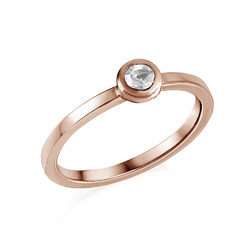 18K Rose Gold Plated Stackable Round Crystal Clear Ring product photo