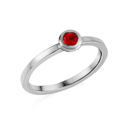 Sterling Silver Stackable Round Ruby Red Ring product photo