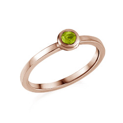 18K Rose Gold Plated Stackable Round Limelicious Green Ring product photo