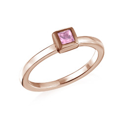 18K Rose Gold Plated Stackable Square Misty Rose Ring product photo