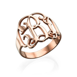 Rose Gold Plated Monogram Ring product photo