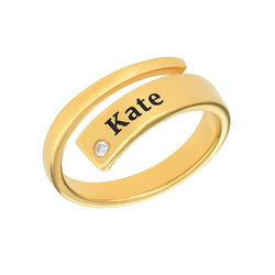 Custom Wrap Name Ring with Cubic Zirconia in Gold Plating product photo