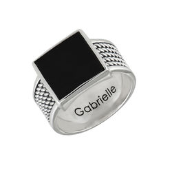 Personalized Men's Black Onyx Stone Square Ring product photo