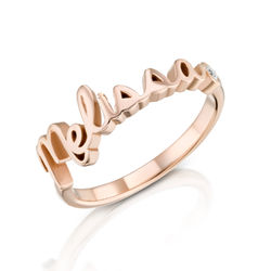 Personalized Birthstone Name Ring in Rose Gold Plating product photo