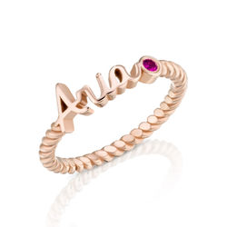 Personalized Birthstone Name Ring with Rope Band in Rose Gold Plating product photo