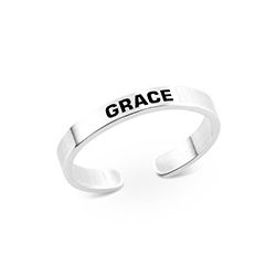 Open Adjustable Engraved Name Ring in Sterling Silver product photo