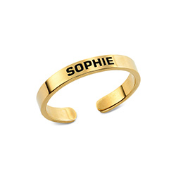 Open Adjustable Engraved Name Ring in Gold Vermeil product photo