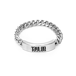 Engraved Name Link Ring in Sterling Siver product photo