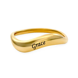 Stackable Wavy Name Ring in Gold Plating product photo