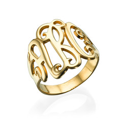 18k Gold Plated Monogrammed Ring product photo