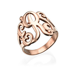 Monogrammed Ring in Rose Gold Plating product photo