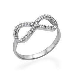 Sterling Silver Infinity Ring with Cubic Zirconia product photo