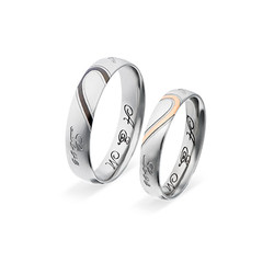 Couple's Promise Ring Set - Half Hearts product photo