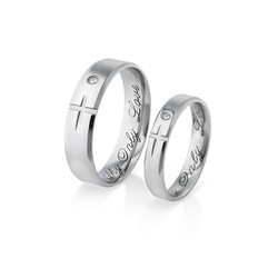 Couple's Promise Ring Set - Matching Crosses product photo