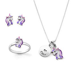 Unicorn Jewelry Set for Girls in Sterling Silver product photo