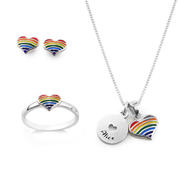 Rainbow Jewelry Set for Girls in Sterling Silver product photo