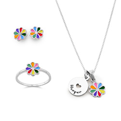 Flower Jewelry Set for Girls in Sterling Silver product photo