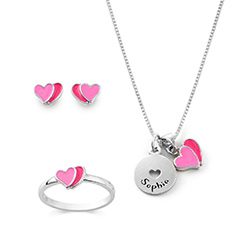Heart Jewelry Set for Girls in Sterling Silver product photo