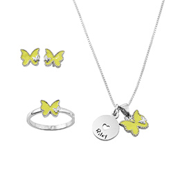 Butterfly Jewelry Set for Girls in Sterling Silver product photo