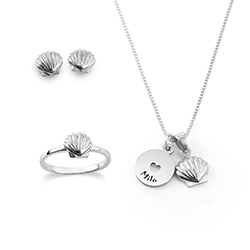 Shell Jewelry Set for Girls in Sterling Silver product photo