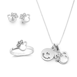 Bear Jewelry Set for Girls in Sterling Silver product photo