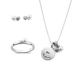 Pearl Jewelry Set for Girls in Sterling Silver product photo
