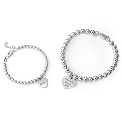 Mother Daughter Heart Bracelets Set in Sterling Silver product photo