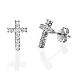 Cubic Zirconia Thin Cross Stud Earrings product photo