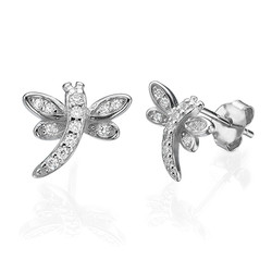 Cubic Zirconia Dragonfly Stud Earrings product photo