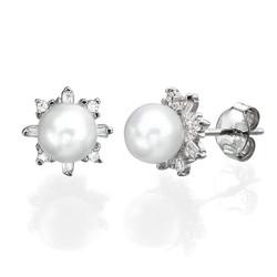 Cubic Zirconia Pearl Stud Earrings product photo