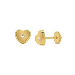 10K Gold Heart Stud Earrings product photo